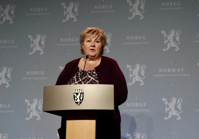 Norway Prime Minister Erna Solberg during the press conference