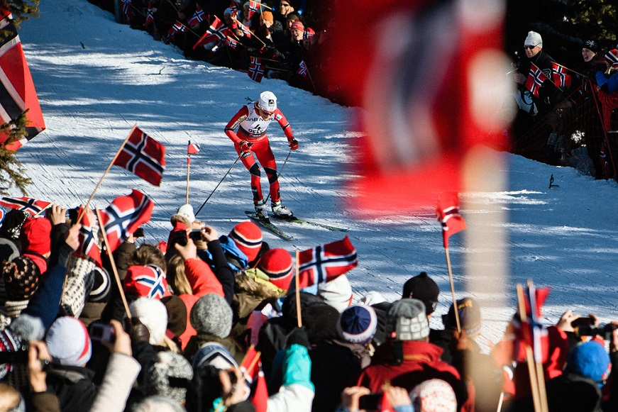 Norwegian Skiers Occupied Full Pedestal
