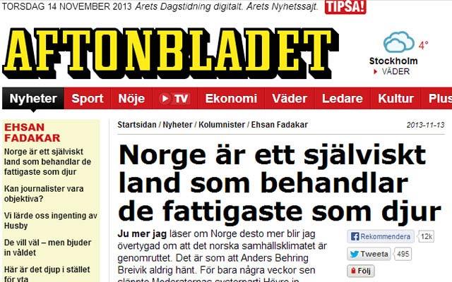 Swedish Journalist Enrages Norwegians Calling Selfish and Rotten