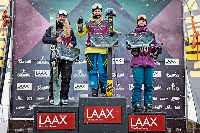 Norwegian Tiril Sj�stad Christiansen is the Champion of the 2015 European Freeski Open LAAX