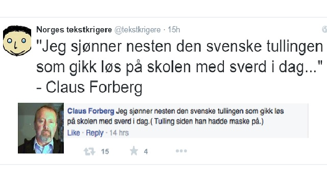 A Politician�s Facebook Message about School Attack in Sweden Draws Reaction in Norway