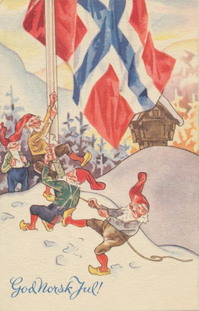 Nordic Santa Claus, Nisses with their red hats and Norwegian flag.
